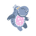 Cute cartoon smiling Hippo character vector Illustration Royalty Free Stock Photo