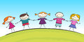 Cute cartoon with smiling kids for web or print Royalty Free Stock Photo