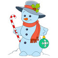 Cute cartoon snowman and happy christmas is holding a candy stick and a firtree ball Royalty Free Stock Photo
