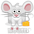 Cute cartoon square grey mouse and cheese
