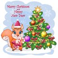 Cute cartoon squirrel with beautiful eyes in a Santa Claus hat with a Christmas gift, candy cane, ball near a decorated Christmas Royalty Free Stock Photo