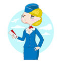 Cute cartoon stewardess with airplane tickets