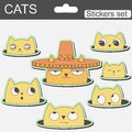 Cute cartoon stickers cats in hat