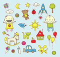 Cute cartoon stickers toys other baby related elements Stock Photos