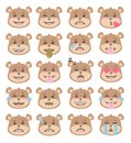 Cute cartoon style brown bear faces with different facial expressions, emoticon vectors set