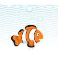 Cute cartoon style clown fish swimming underwater.