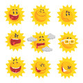 Cute cartoon sun emojis. Emotional face set of colorful characters vector Illustrations Royalty Free Stock Photo