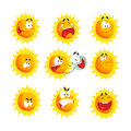 Cute cartoon sun various emoticons. Emotional face set of colorful characters vector Illustrations Royalty Free Stock Photo