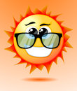 Cute cartoon sun vector illustration background Stock Images