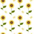 Cute Cartoon Sunflower Seamles...