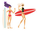 Cute cartoon surf girls hand drawn Royalty Free Stock Photo