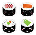 Cute cartoon Sushi set Royalty Free Stock Photography