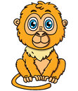 Cute cartoon tamarin monkey vector illustration of adorable golden lion Stock Photos