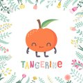 Cute cartoon tangerine illustration with flowers and lettering. Royalty Free Stock Photo