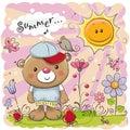 Cute Cartoon Teddy Bear on the meadow