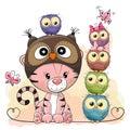 Cute Cartoon Tiger and five Owls