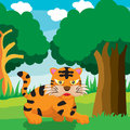 Cute cartoon tiger a vector illustration of Royalty Free Stock Image