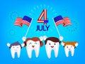 Cute cartoon tooth family waving american flag.