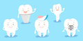 Cute cartoon tooth feel happily