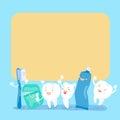 Cute cartoon tooth hold billboard
