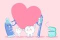 Cute cartoon tooth hold heart