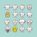 Cute cartoon tooth set Royalty Free Stock Photo