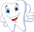 Cute cartoon tooth with thumb up Royalty Free Stock Photo