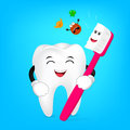 Cute cartoon tooth with toothbrush.
