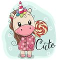 Cute Unicorn in coat and with Lollipop