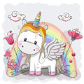Cute Cartoon Unicorn on the meadow Royalty Free Stock Photo