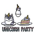 Cute cartoon unicorn party supplies set vector clipart. Kawaii hand drawn birthday party. Celebration with cake and