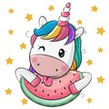 Cute Cartoon Unicorn with watermelon Royalty Free Stock Photo