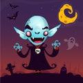 Cute cartoon vampire. Halloween vampire character on dark background fith cemetery, ghost and moon