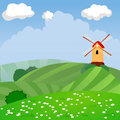 Cute cartoon vector farm landscape for kids Royalty Free Stock Photo