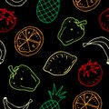 Cute cartoon vector seamless pattern with fruits and vegetables on dark background.