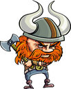 Cute cartoon viking with horny helmet isolated on white Stock Photos