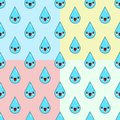 Cute Cartoon water drop characters Seamless Pattern on white background Flat design Vector Illustration Royalty Free Stock Photo