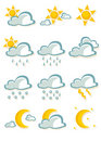 Cute cartoon weather icons Royalty Free Stock Photo
