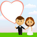 Cute cartoon wedding couple with background Royalty Free Stock Photo