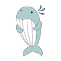Cute cartoon whale character, vector isolated illustration in simple style. Royalty Free Stock Photo