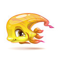 Cute cartoon yellow girl fish character Royalty Free Stock Photo