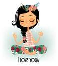 Cute cartoon yoga girl Royalty Free Stock Photo