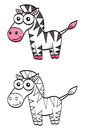 Cute cartoon zebra an illustration of a funny Stock Image