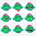 Cute cartoon zombie head scary spooky emotion icons set