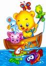 Cute cartoons a digitally illustrated Stock Image