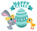 Cute cartoons Easter rabbit with chicken and egg. Suitable for Easter design.