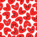 Cute cartoons of hearts with different emotions. Seamless background.