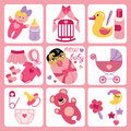 Cute cartoons icons for asian newborn baby girl a set of cartoon elements cartoon scrapbooking elements in strips background Royalty Free Stock Photography