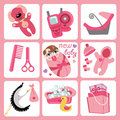 Cute cartoons icons for european baby girl newborn set a of cartoon elements cartoon scrapbooking elements vector illustration Royalty Free Stock Image