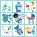 Cute cartoons icons for mulatto newborn baby girl a set of cartoon elements cartoon scrapbooking elements in strips background Stock Image